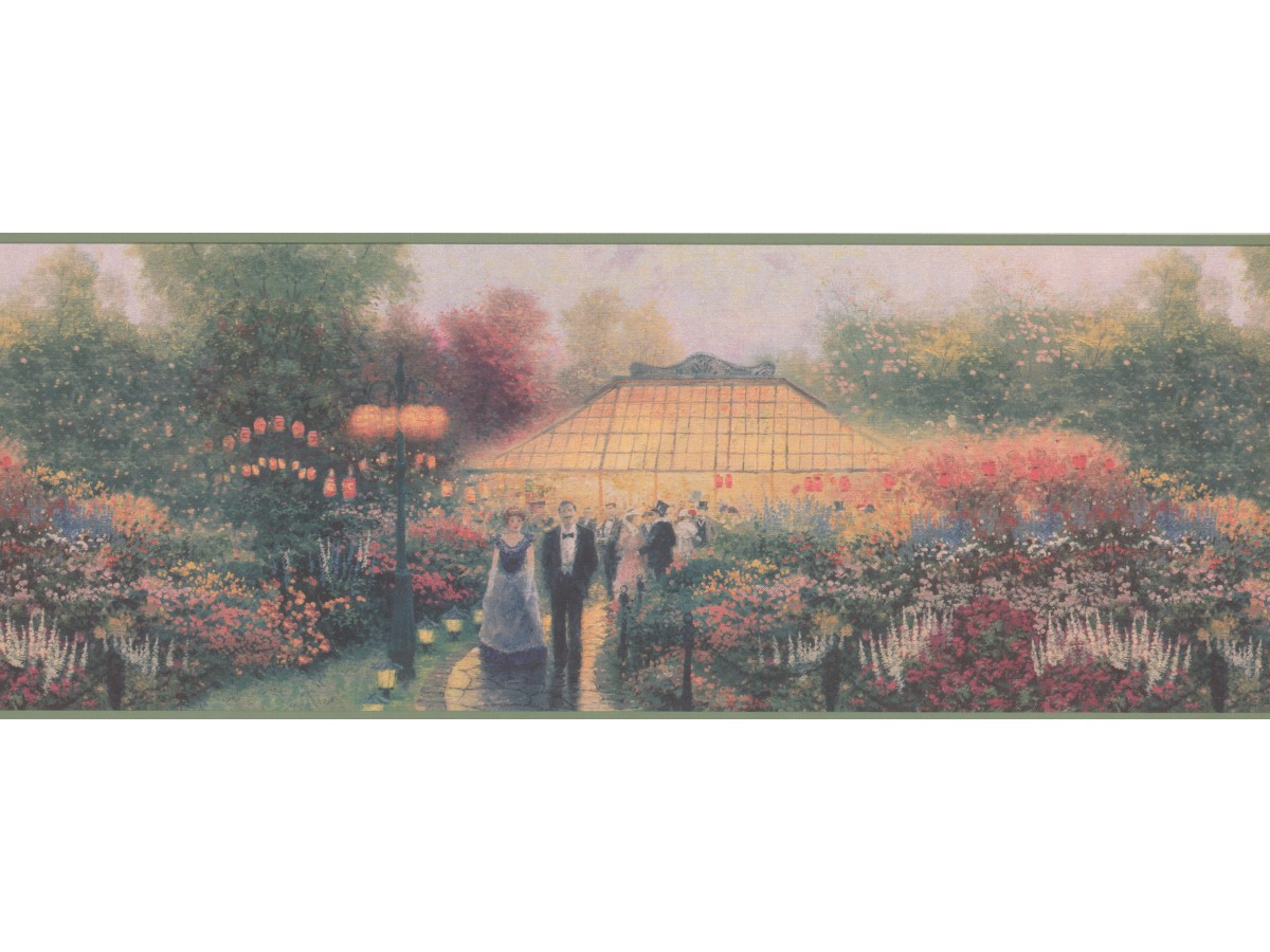 Decorative Flower House Wallpaper Border