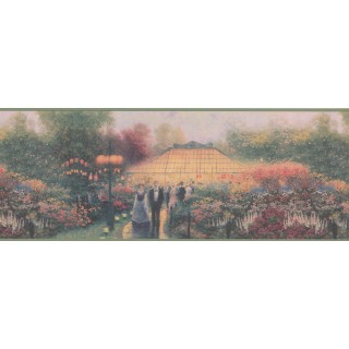 9 in x 15 ft Prepasted Wallpaper Borders - Decorative Flower House Wall Paper Border