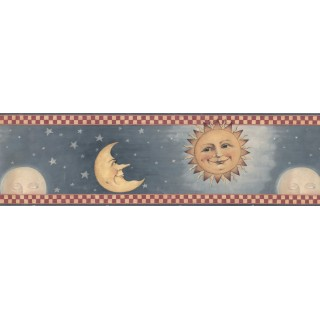 6 1/2 in x 15 ft Prepasted Wallpaper Borders - Sky Red Cream Moon Sun Wall Paper Border