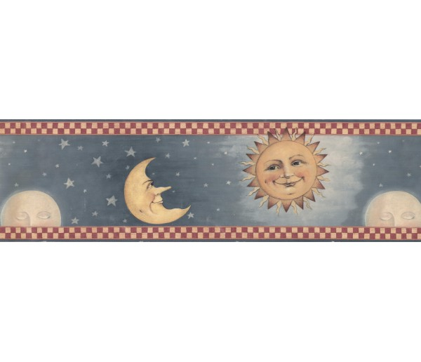Sun Moon Stars Wall Borders: Sky Red Cream Moon Sun Wallpaper Border