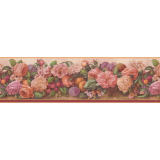 7 in x 15 ft Prepasted Wallpaper Borders - Daisy Rose Cherry Wall Paper Border