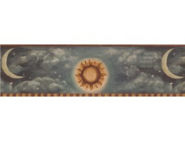 Prepasted Wallpaper Borders - Brown Yellow Grey Sun Moon Wall Paper Border