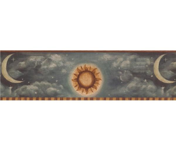Sun Moon Stars Borders Brown Yellow Grey Sun Moon Wallpaper Border York Wallcoverings