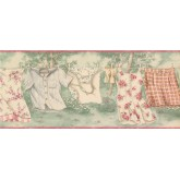 Prepasted Wallpaper Borders - Rose Hanging Laundry Wall Paper Border