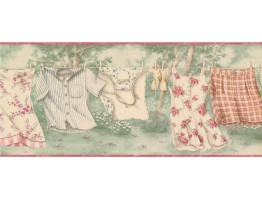 Rose Hanging Laundry Wallpaper Border