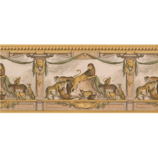 10 1/4 in x 15 ft Prepasted Wallpaper Borders - Gold Lion Molding Wall Paper Border