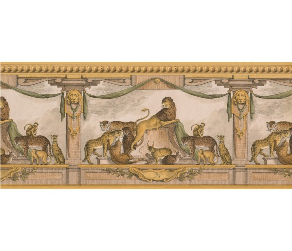 Jungle Gold Lion Molding Wallpaper Border