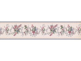 White Blue Gold Royal Floral Wallpaper Border