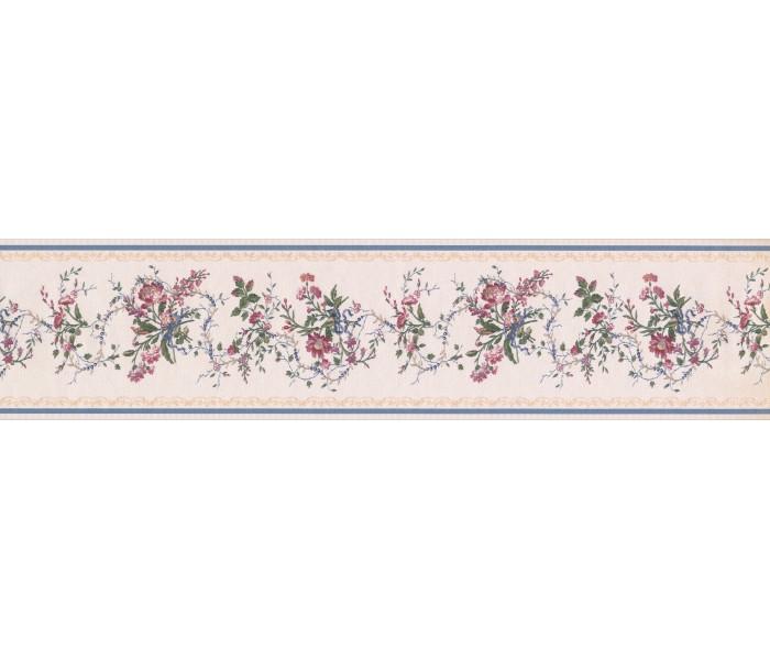 Floral Wallpaper Borders: White Blue Gold Royal Floral Wallpaper Border