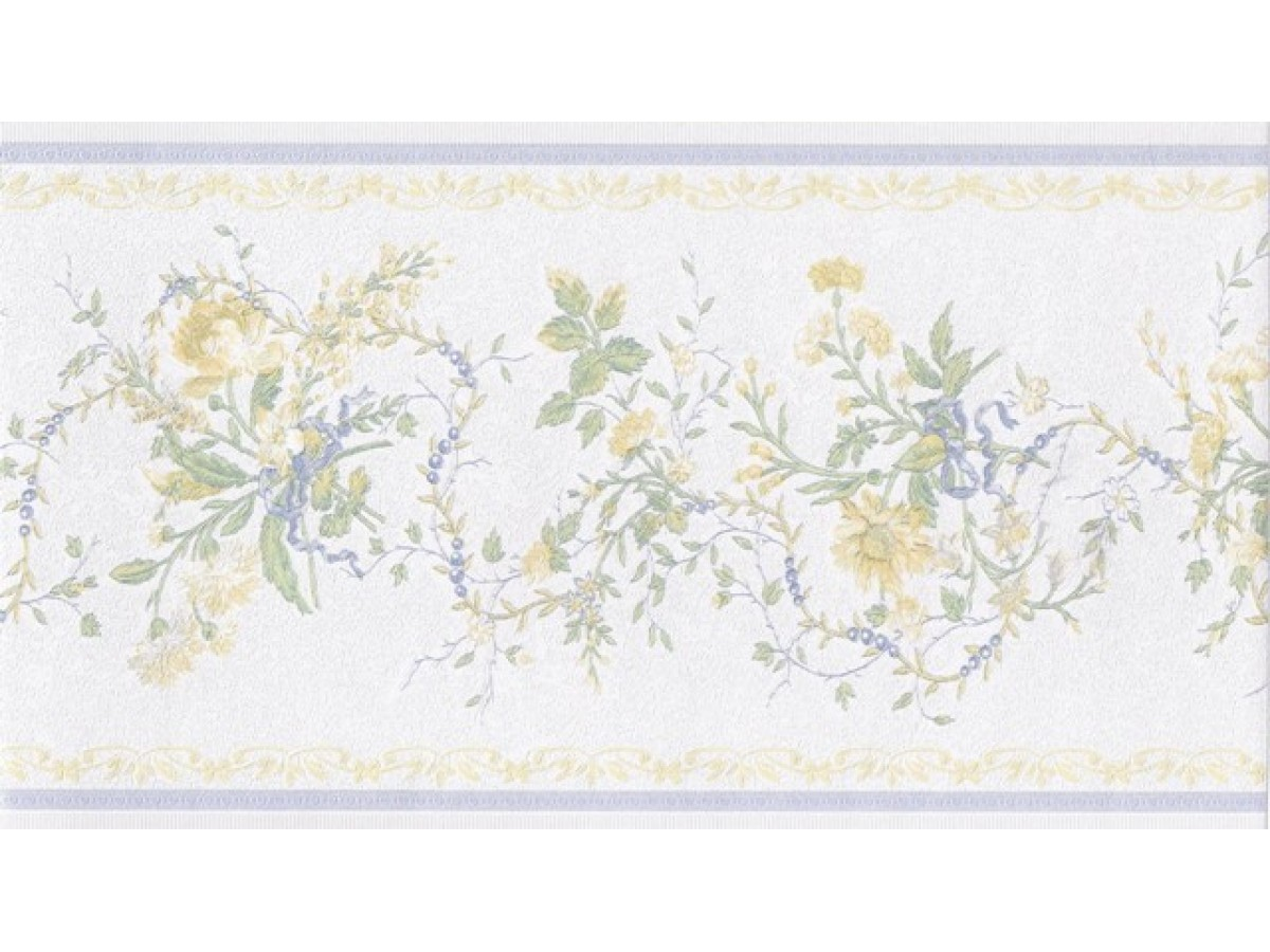 White Blue Yellow Elegant Floral Wallpaper Border