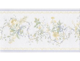 5 2/5 in x 15 ft Prepasted Wallpaper Borders - White Blue Yellow Elegant Floral Wall Paper Border