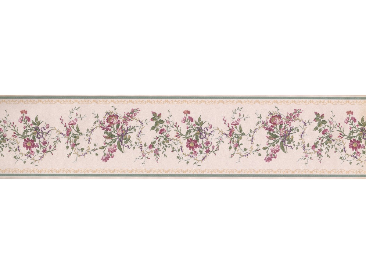 White Green Gold Royal Floral Wallpaper Border