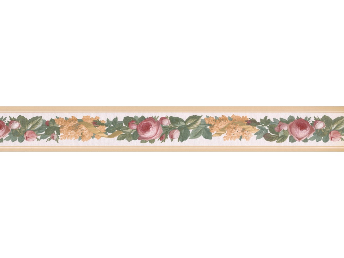 Beige Floral Vine Wallpaper Border