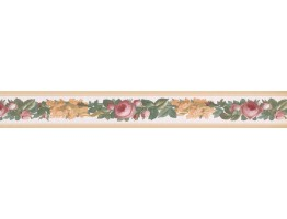 Prepasted Wallpaper Borders - Beige Floral Vine Wall Paper Border