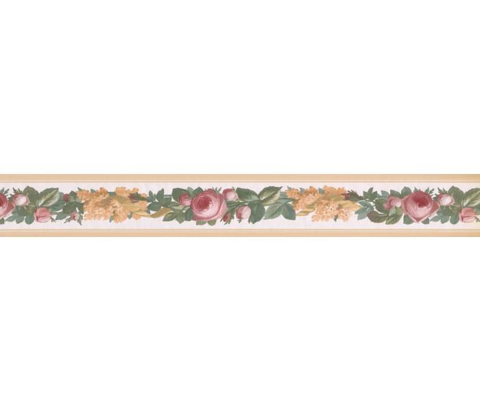 Floral Wallpaper Borders: Beige Floral Vine Wallpaper Border