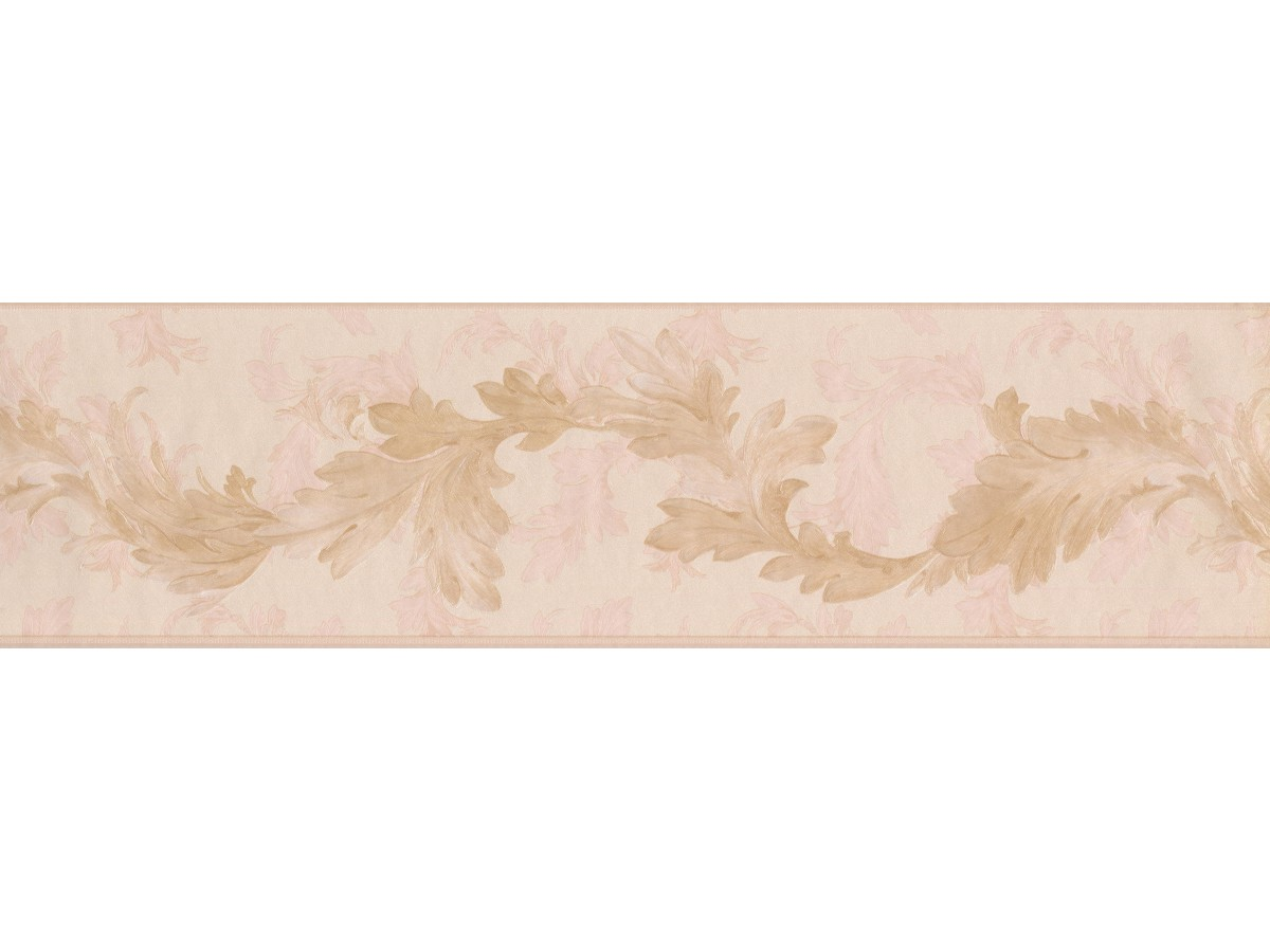 Prepasted Wallpaper Borders Gold Light Pink Oak Leaves Wall Paper Border