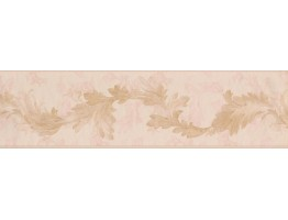 Prepasted Wallpaper Borders - Gold Light Pink Oak Leaves Wall Paper Border