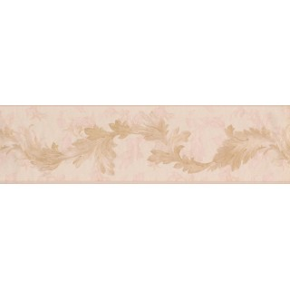 6 1/4 in x 15 ft Prepasted Wallpaper Borders - Gold Light Pink Oak Leaves Wall Paper Border