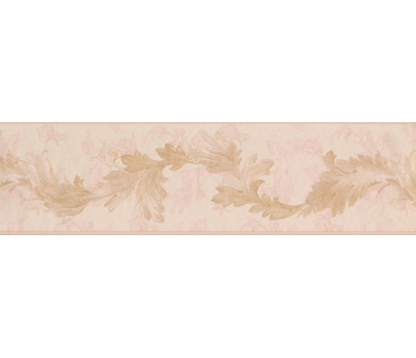 Vintage Wallpaper Borders: Gold Light Pink Oak Leaves Wallpaper Border
