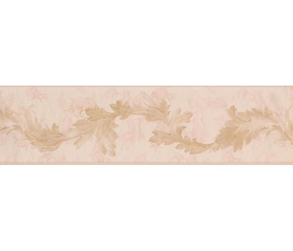 Vintage Wallpaper Borders: Gold Light Pink Oak Leaves Wallpaper Border