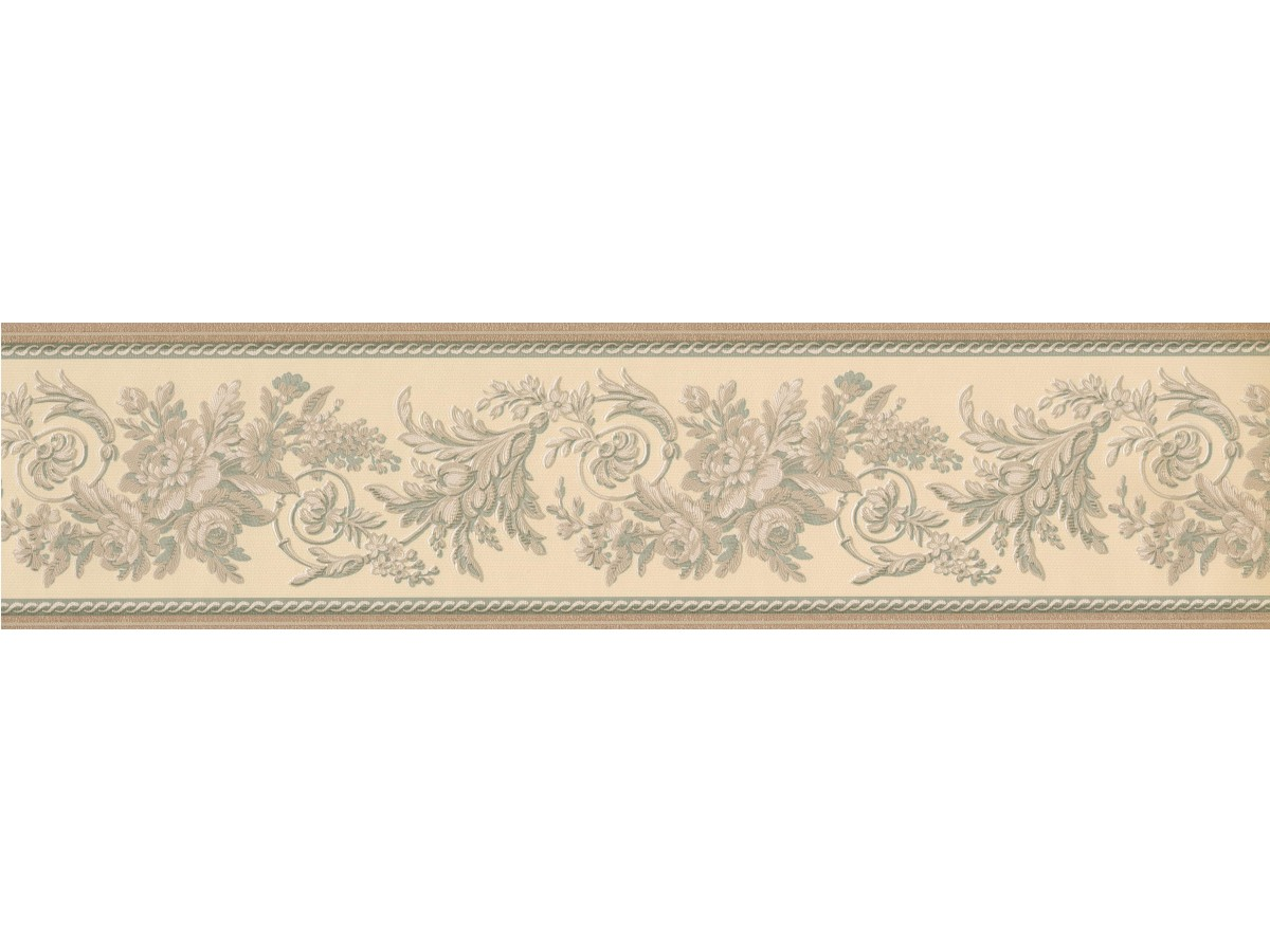 Gold Green Cream Floral Molding Wallpaper Border
