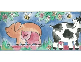 Prepasted Wallpaper Borders - Kids Cartoon Piggy Wall Paper Border