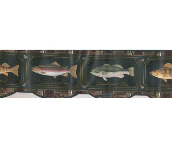 Fishing Wallpaper Borders: Yellow Perch Wallpaper Border
