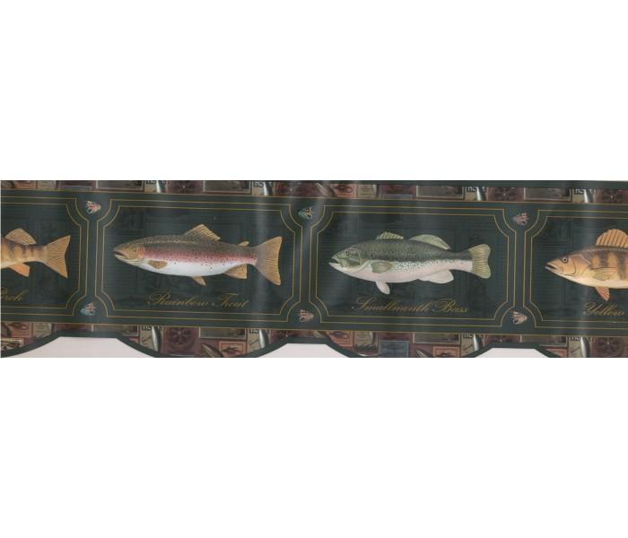 Fishing Wallpaper Borders: Yellow Perch Wallpaper Border