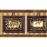 Jungle Wallpaper Borders: Gold Framed Animal Photos Wallpaper Border