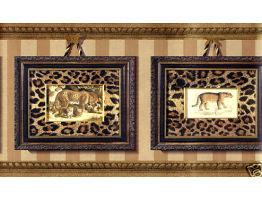 Prepasted Wallpaper Borders - Gold Framed Animal Photos Wall Paper Border