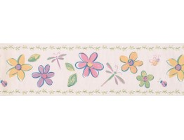 Prepasted Wallpaper Borders - Cream Flowers Dragonflies Wall Paper Border