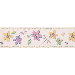 6 3/4 in x 15 ft Prepasted Wallpaper Borders - Cream Flowers Dragonflies Wall Paper Border