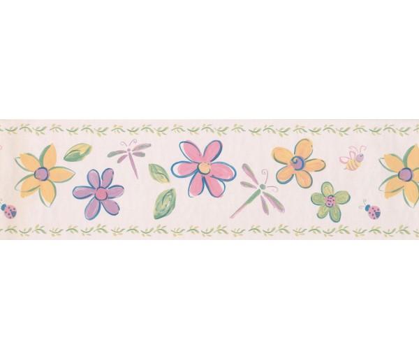 Prepasted Wallpaper Borders - Cream Flowers Dragonflies Wall Paper Border