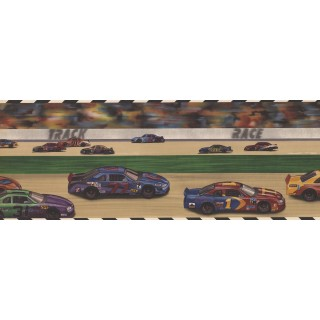 9 in x 15 ft Prepasted Wallpaper Borders - Car Race Kids Wall Paper Border
