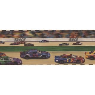 9 in x 15 ft Prepasted Wallpaper Borders - Car Race Kids Wall Paper Border