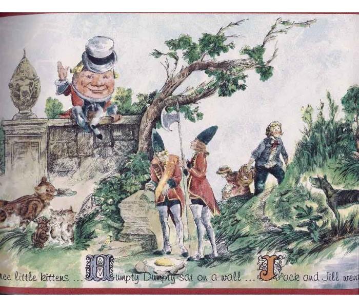 Nursery Wallpaper Borders: Humpty Dumpty Jack and Jill Wallpaper Border