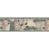 Floral Wallpaper Borders: Dark Green Magnolia Wallpaper Border
