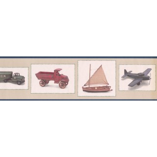 6 3/4 in x 15 ft Prepasted Wallpaper Borders - Black Framed Toy Truck and Airplane Wall Paper Border