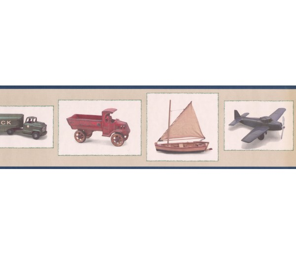 Clearance: Black Framed Toy Truck and Airplane Wallpaper Border