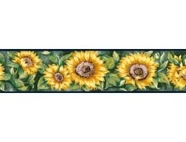 Navy Blue Sunflower Wallpaper Border