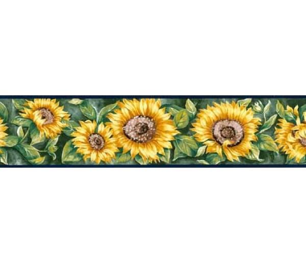 Sunflowers Navy Blue Sunflower Wallpaper Border York Wallcoverings