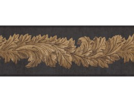 Black Leaf Molding Wallpaper Border