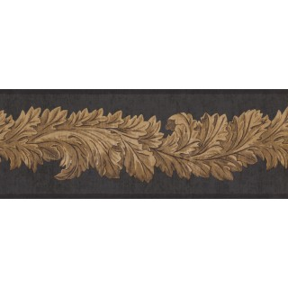 9 in x 15 ft Prepasted Wallpaper Borders - Black Leaf Molding Wall Paper Border