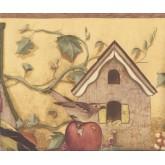 Bird Houses Wallpaper Borders: Yellow Apple Birdhouse Wallpaper Border