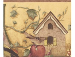 Prepasted Wallpaper Borders - Yellow Apple Birdhouse Wall Paper Border