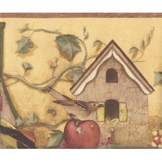 10 in x 15 ft Prepasted Wallpaper Borders - Yellow Apple Birdhouse Wall Paper Border