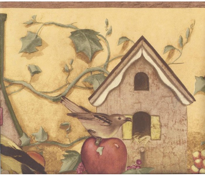 Bird Houses Wallpaper Borders: Yellow Apple Birdhouse Wallpaper Border