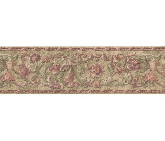 Floral Wallpaper Borders: Green Red Molding Floral Wallpaper Border