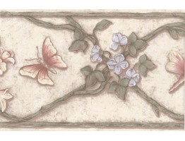 Cream Green Butterfly Floral Vines Wallpaper Border