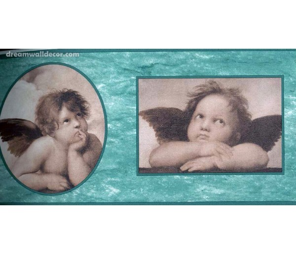Prepasted Wallpaper Borders - Two Cute Baby Angels Wall Paper Border